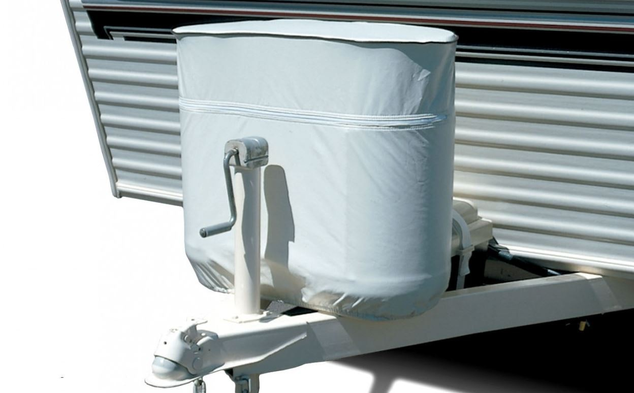 Product Image for White Vinyl Propane Tank Cover for 20/5 Gallon Tank